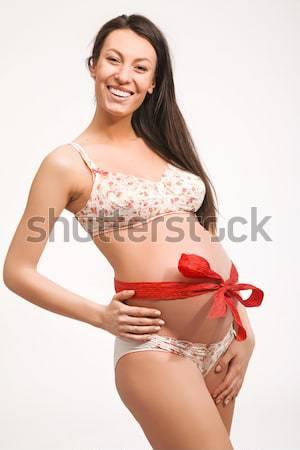 Stok fotoğraf: Mutlu · hamile · kadın · eller · karın · kadın