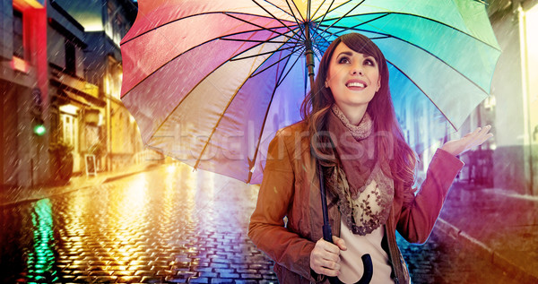 Mode brunette coloré parapluie dame femme Photo stock © konradbak