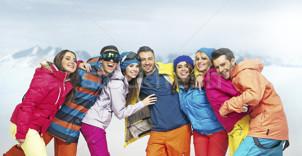 Glad young people in funny pose Stock photo © konradbak