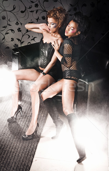 Vogue style photo of two posing girls Stock photo © konradbak