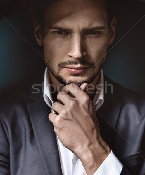 Stockfoto: Portret · knap · zakenman · man · gelukkig · mode