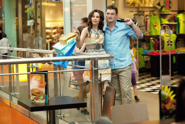 Foto stock: Jovem · bonito · casal · compras · centro