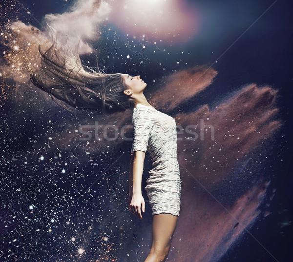 Sztuki Fotografia baletnica kolorowy pyłu zdjęcie Zdjęcia stock © konradbak