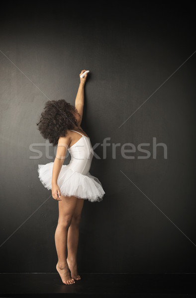 Little ballet dancer making drawings Stock photo © konradbak