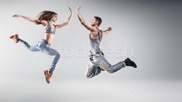 Ritratto giovani dancing Coppia amici donna Foto d'archivio © konradbak