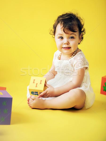 Aranyos lány játszik játék téglák kislány Stock fotó © konradbak