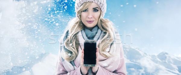 Foto stock: Bastante · celular · inverno · telefone · móvel