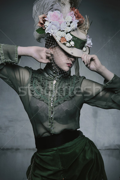 Beauty woman wearing old fashioned dress Stock photo © konradbak