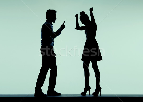 Arguing couple in the bad mood Stock photo © konradbak