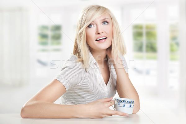 счастливым питьевой кофе лице работу Сток-фото © konradbak