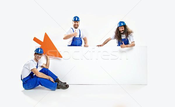 Három kereskedelmi üres tábla hatalmas festék Stock fotó © konradbak