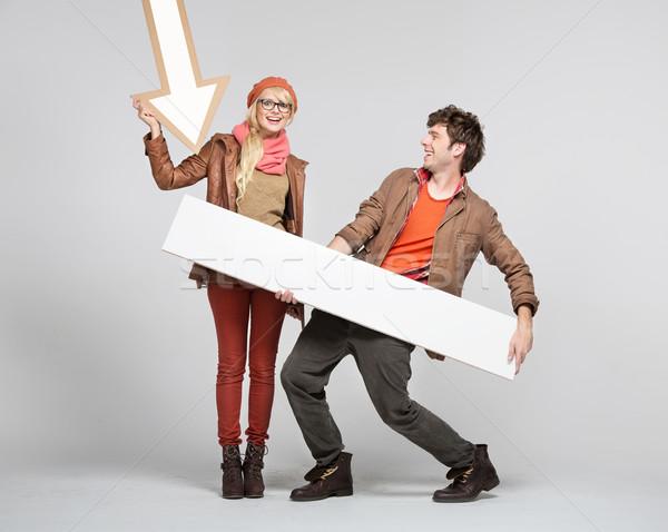 фантастический пару играет признаков женщину Сток-фото © konradbak