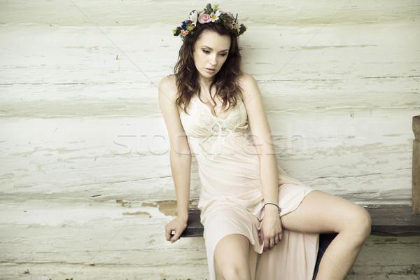 белый Принцесса цветок Hat красочный солнце Сток-фото © konradbak