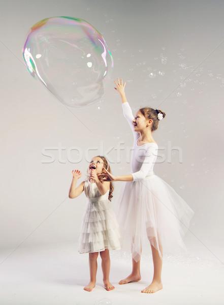 Twee zusters groot zeepbel meisjes gelukkig Stockfoto © konradbak