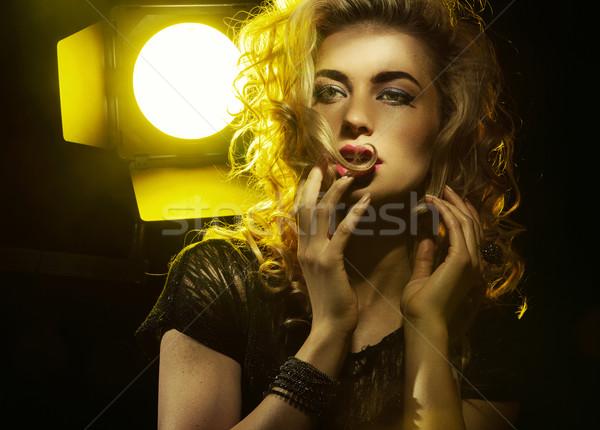 портрет заманчивый Lady женщину музыку Сток-фото © konradbak