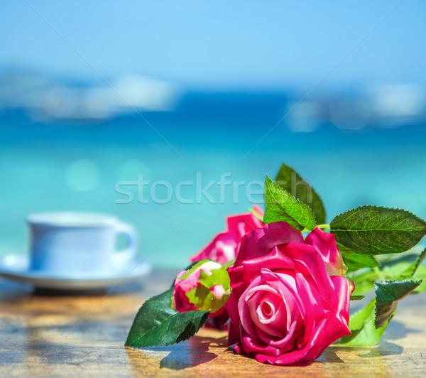 Duftenden Blume Holz Strand Tabelle Anlage Stock foto © konradbak