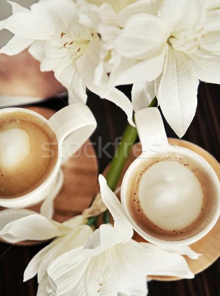 Stockfoto: Koffie · bloemen · cafe · zwarte · leven