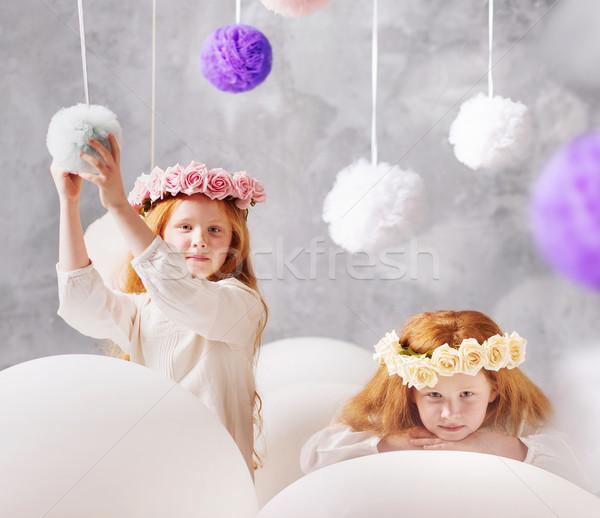 Portré kettő vörös hajú nő iker nővérek aranyos Stock fotó © konradbak