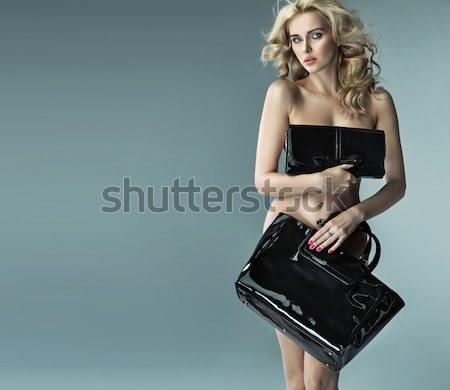 érzéki nő visel fekete csipke alsónemű Stock fotó © konradbak