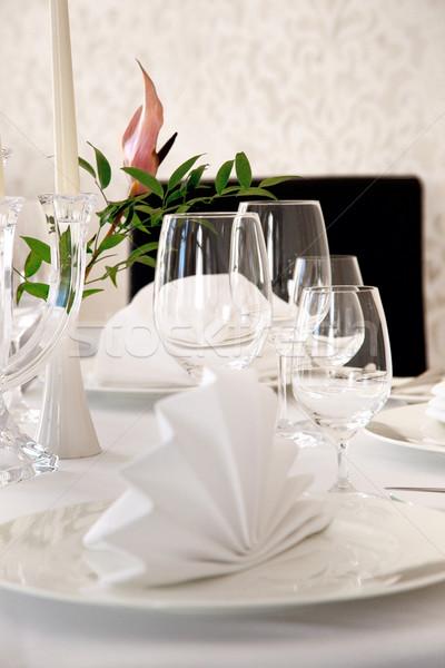 Eettafel familie huis tabel kamer kaars Stockfoto © konradbak