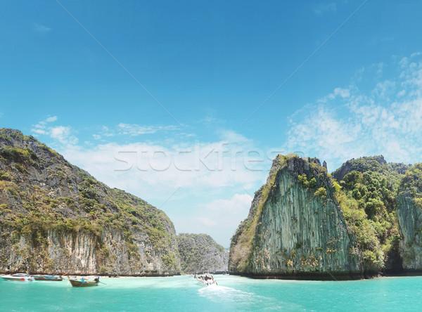 Beautoful asian landscape of a rainforest and an ocean Stock photo © konradbak