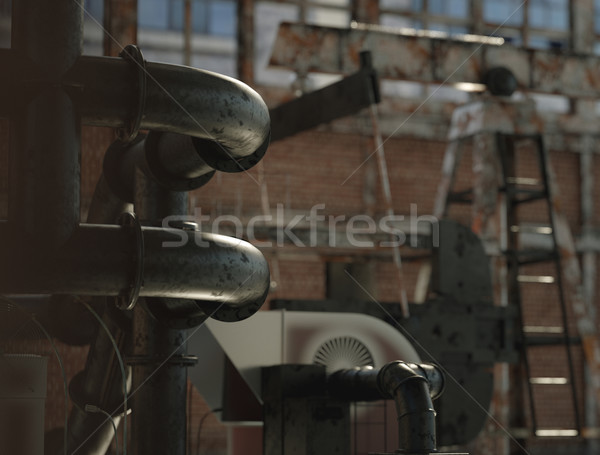 Old and abandoned civic facory Stock photo © konradbak