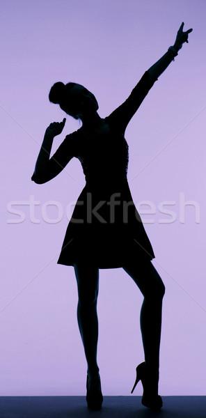 Fekete sziluett fiatal nő csinos nő hát Stock fotó © konradbak