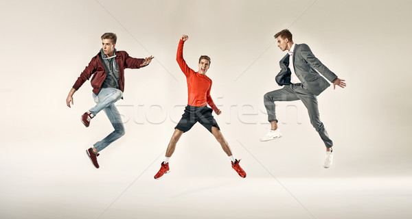 Portrait of the three faces of the same man Stock photo © konradbak
