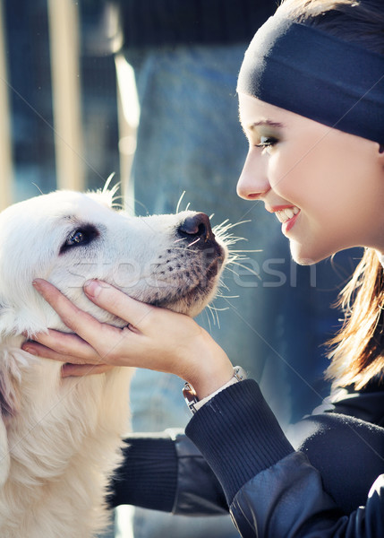 young woman with dog Stock photo © konradbak