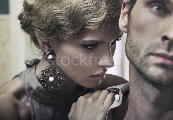 gorgeous blonde and handsome man Stock photo © konradbak