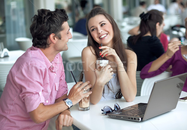 Loving couple in a restaurant Stock photo © konradbak