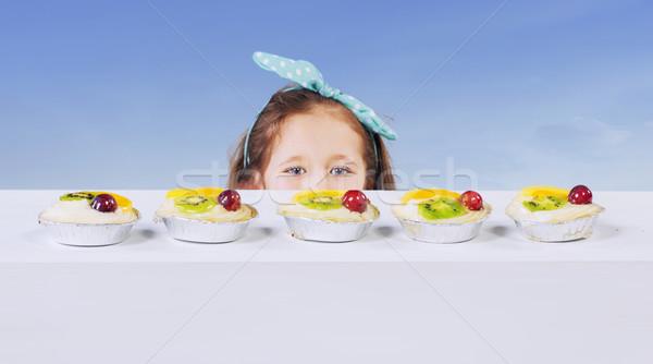 女の子 フルーツケーキ パーティ 顔 背景 ストックフォト © konradbak