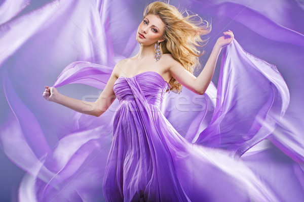 Stunning blonde like purple princess Stock photo © konradbak