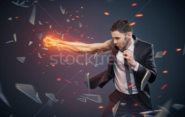 Fotografia ambitny biznesmen pracownika działalności biuro Zdjęcia stock © konradbak