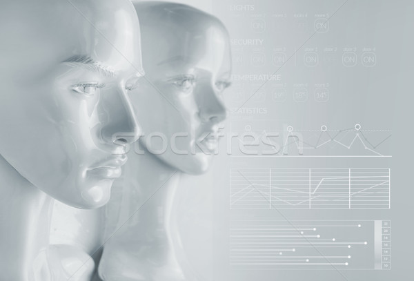 Artificial intelligence concept - diagrams and graphs Stock photo © konradbak