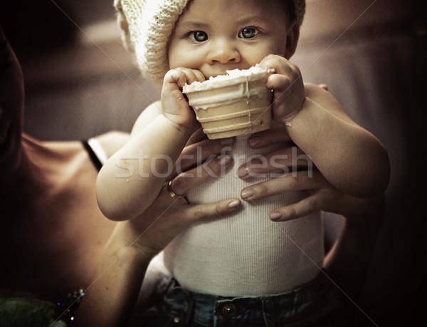 Yeme bebek ev gözler ev eğlence Stok fotoğraf © konradbak