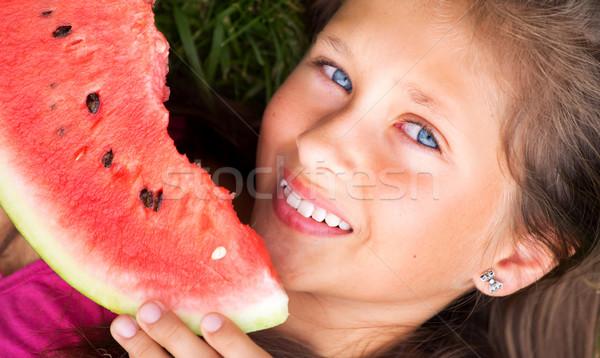 Stock fotó: Lány · eszik · görögdinnye · lédús · fű · boldog