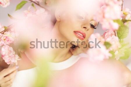 Genç kadın büyük parlak dudaklar genç bayan Stok fotoğraf © konradbak