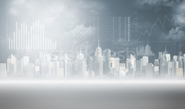 Chart pillars and view of a city background Stock photo © konradbak