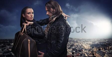 Dois bonito amigos posando cidade passeio público Foto stock © konradbak