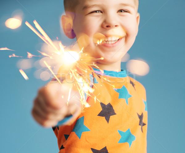 Weinig jongen sterretje man gelukkig Stockfoto © konradbak