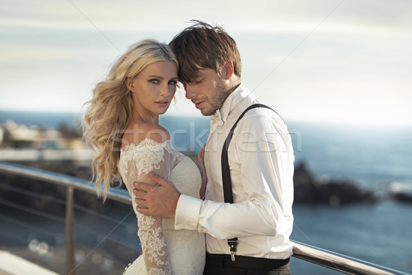 Closeup portrait of the attractive newlyweds Stock photo © konradbak