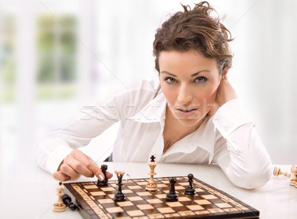 Fiatal üzletasszony játszik sakk üzlet divat Stock fotó © konradbak