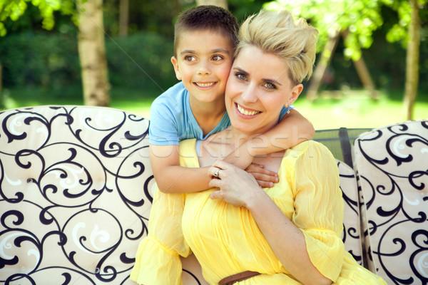 örvend anya fiú nő baba szeretet Stock fotó © konradbak