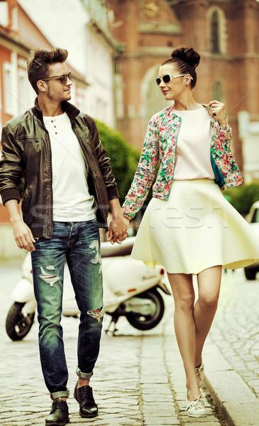 Romantic portrait of a walking couple Stock photo © konradbak