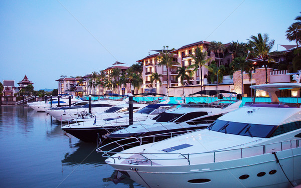 Picture of motor boats in the tropical docks Stock photo © konradbak