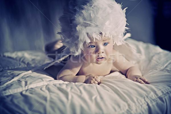 Aranyos újszülött baba szemek szépség toll Stock fotó © konradbak
