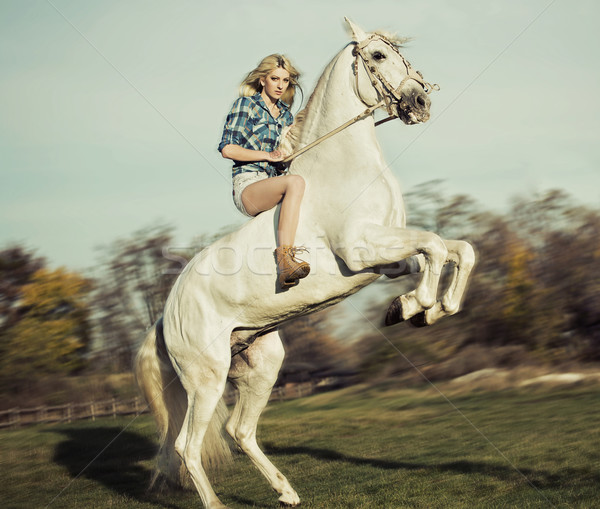 Stock photo: Serious blonde woman riding the horse