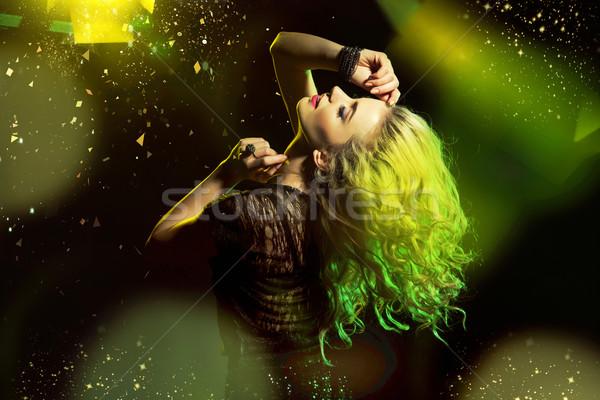 Femme danse piste de danse dame musique Photo stock © konradbak