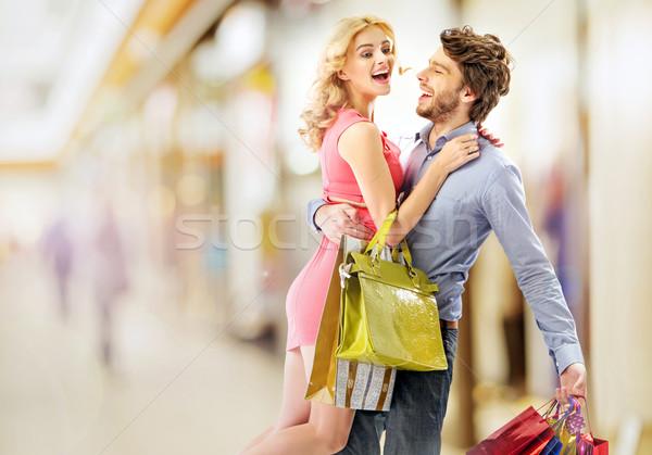 Elragadtatott pár fiatal pér nő férfi táska Stock fotó © konradbak